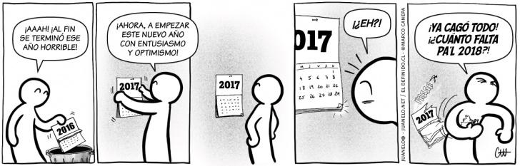 año nuevo, 2016, 2017, 2018, cambio, calendarios, fechas, optimismo, pesimismo