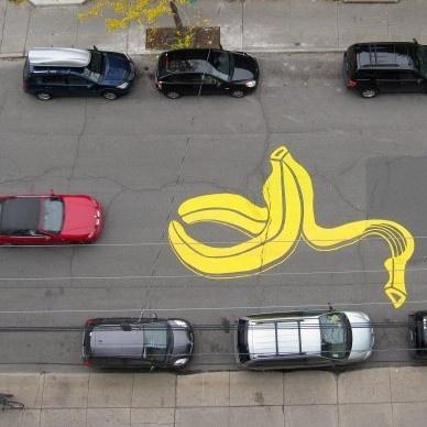 arte urbano, calles, stencil, grafiti, bicicletas, ciudad, peatones, peter gibson, roadsworth