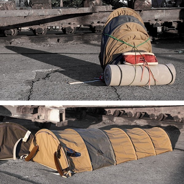 diseño, inventos, indigentes, homeless, mochila, carpa, Urban Rough Sleeper, Ragnhild Lübbert Terpling