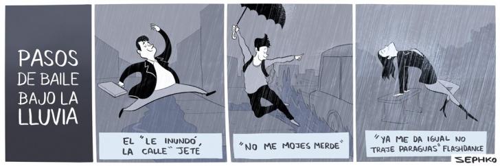 clima, lluvia, invierno, ciudad, baile, pasos