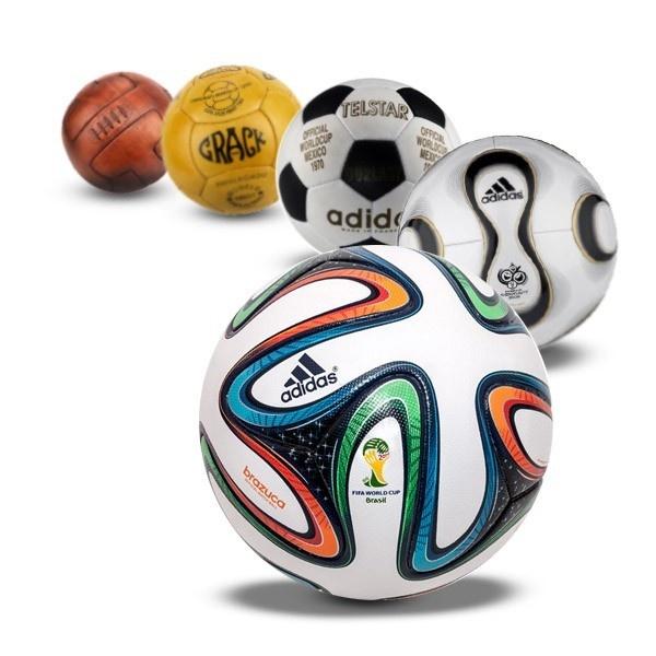 fútbol, pelotas, Mundial, historia, evolución, balones, Telstar, Crack, Jubilani, Brazuca, Teamgeist