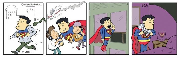 superheroe, sueño, trabajo, pijama, dormir