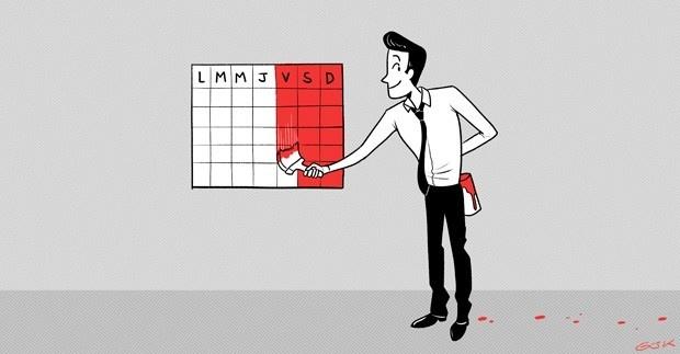 productividad, semana, laboral, días, fines de semana, trabajo, stress, bienestar, acortar la semana