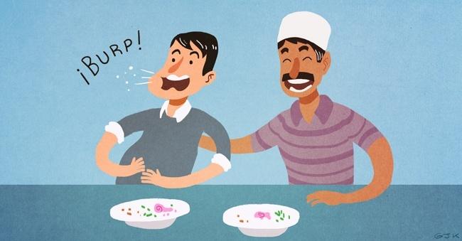 Modales, comida, curiosidades, mesa, Asia