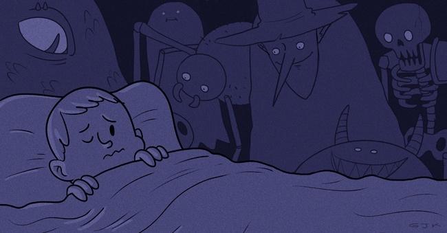 noche, oscuridad, dormir, miedo, niño, imaginación, monstruos, inseguridad, luz