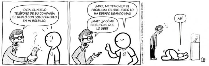 humor, comics, iphone6, iphones, apple, teléfonos, celulares, defectos, quejas, clientes, servicio, empresas, negocios, usuarios, tecnología