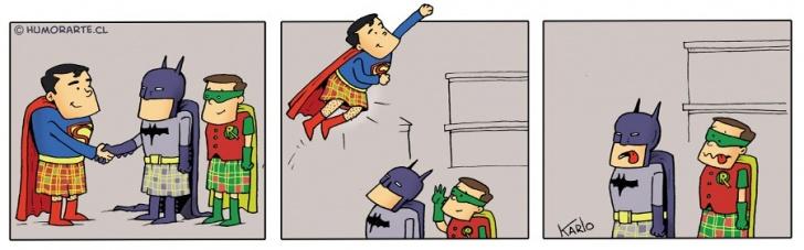 escocia, superhéroes, volar, falda