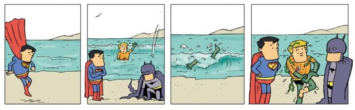 Playa, junta, superhéroes, tropiezo, algas
