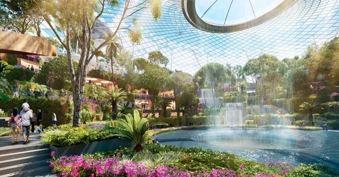 Aeropuerto Singapur, cúpula cristal, parque urbano,  Changi, construcción, atractivo truístico, inversión, mundo