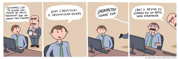 oficina, trabajo, jefe, empleado, despedir, eufemismo, correo