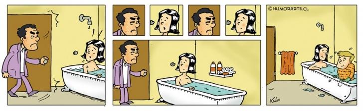 Baño, tina, infidelidad, Escondite