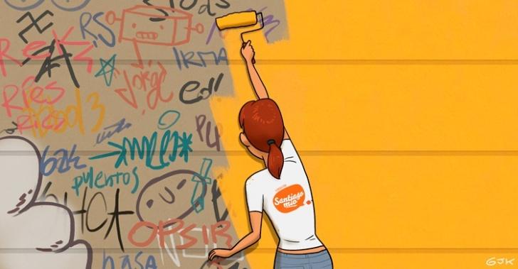 ciudad, urbanismo, rayados, graffiti, patrimonio, Santiago Mío