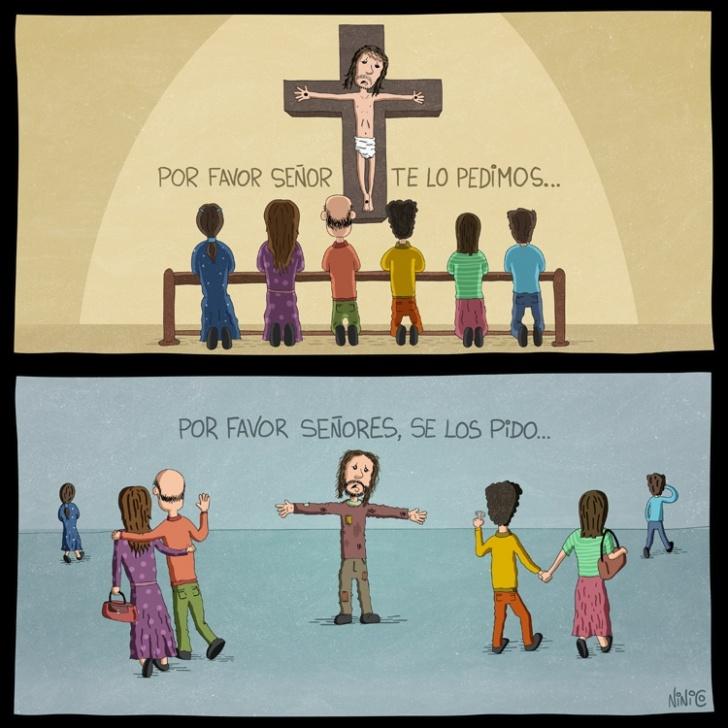 religión, iglesia, semana santa, jesús, cruz, mendigo, gente, personas