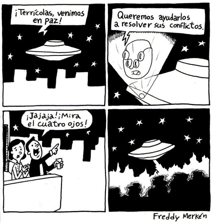 ovni, aliens, conflictos, paz, cuatro ojos