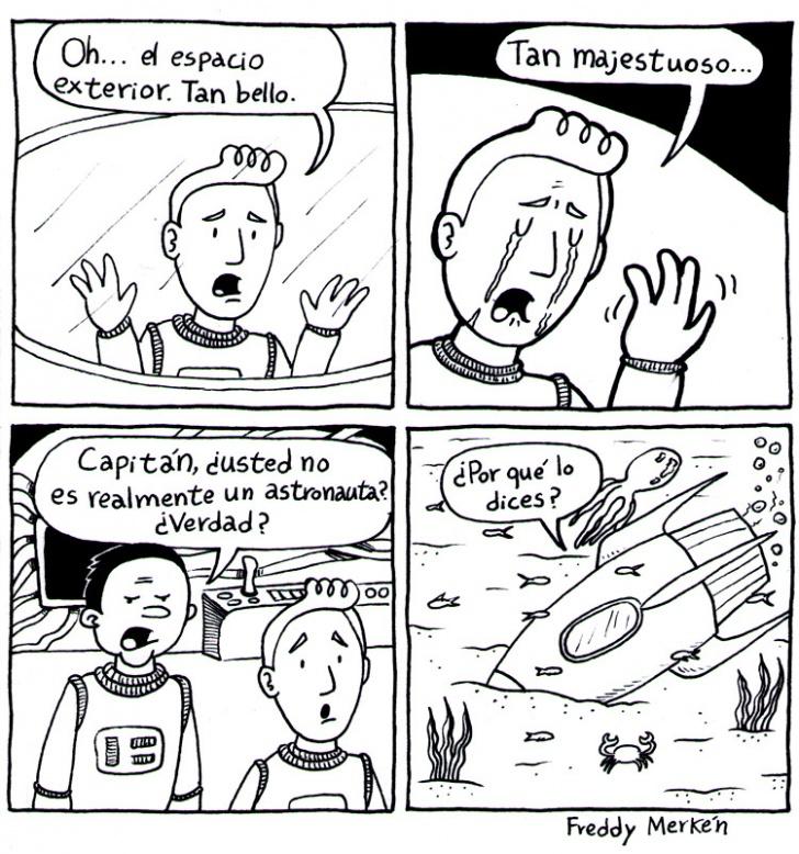 Espacio, Exterior, Nave, Astronauta, Mar, Peces, Capitán