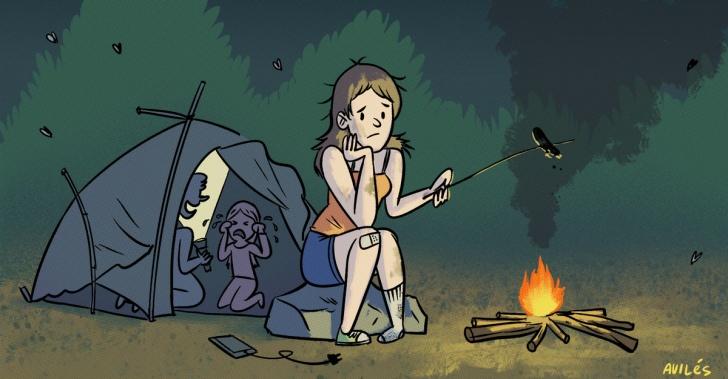 acampar, camping, vacaciones, naturaleza, carpas, humor, aire libre, trekking, aventuras