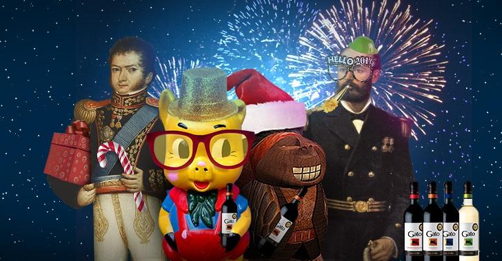gato, tarjetas, navidad, promocionadas, año nuevo, Chile