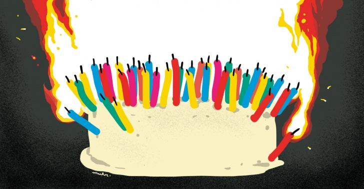 columna, cumpleaños, cuarenta