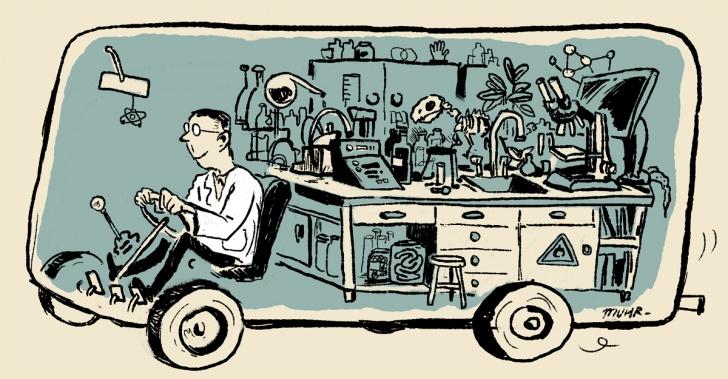 ciencia, escuela, niños, enseñanza, bus, cientificos