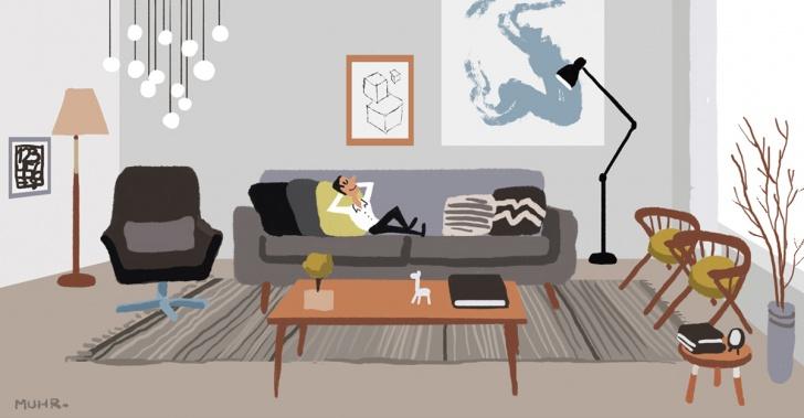 arquitectura, diseño, estilo, escandinavo, modelo, habitación, hogar, espacio, lugar, decoración