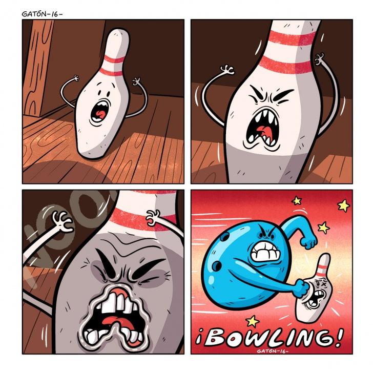 bowling, bullying, violencia, choque, golpe, maltrato, palitroque