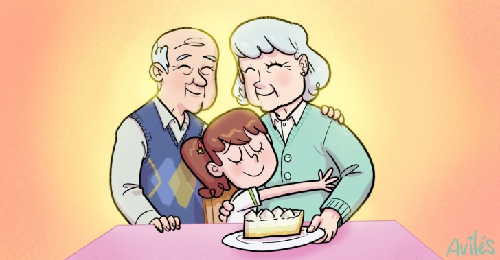 abuelos, tatas, padres, hijos, nietos, familia, cariño, vejez