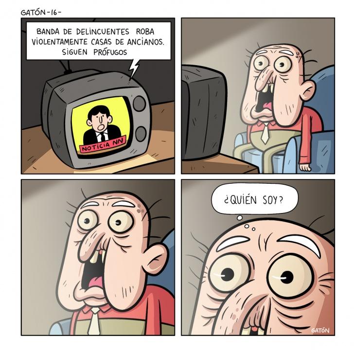 anciano, abuelo, televisión, noticias, tv, miedo, susto, olvido, mala memoria, memoria, sorpresa