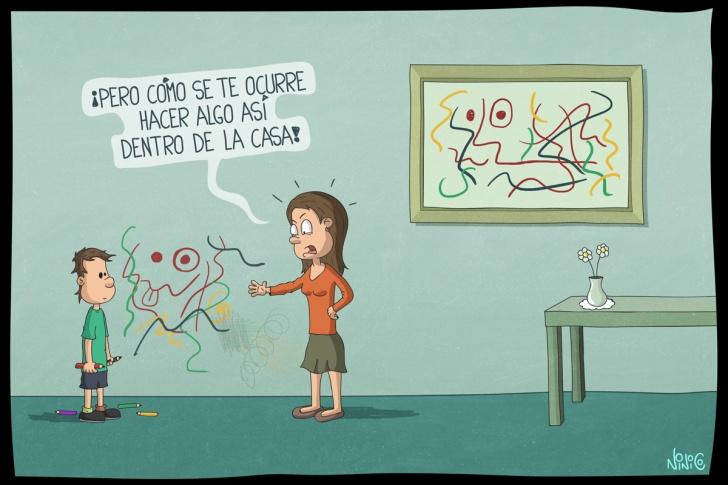 dibujo, pared, casa, interior, cuadro, niño, madre, mamá