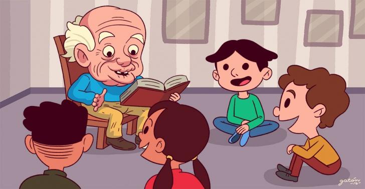 lectura, cuentos, cuentacuentos, niños, relatos, historias, imaginación, educación, adultos mayores, Caja Los Andes