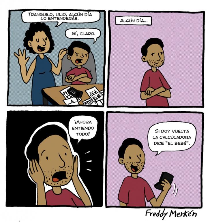 Madre, Hijo, Tranquilo, Entender, Calculadora, El, Bebé