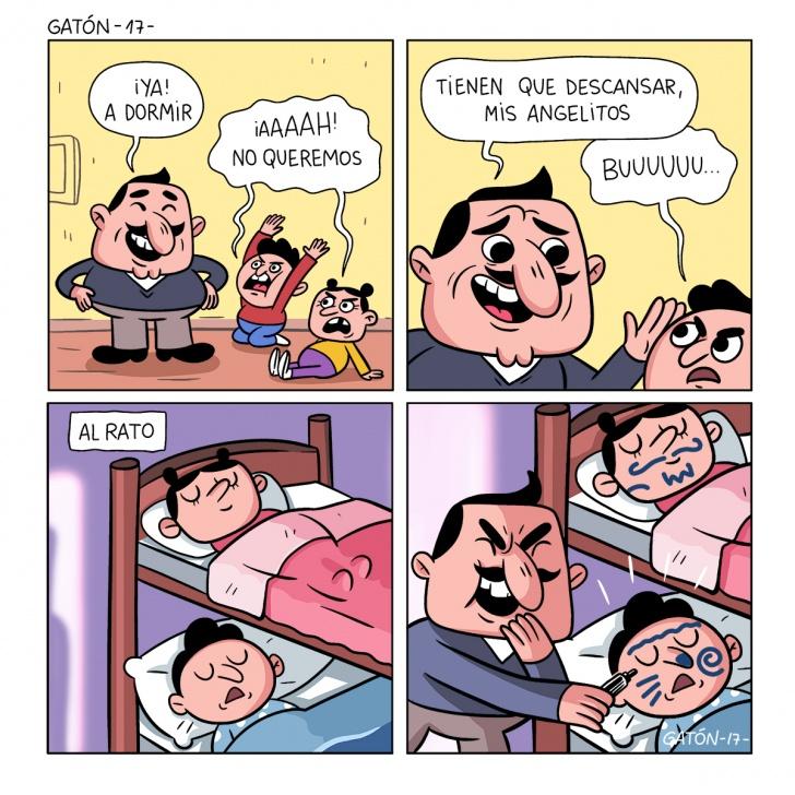 papám padre, sueño, dormir, travesura, niños, hijos, lapiz, risa