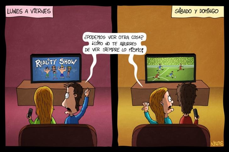 ver tele, tv, televisión, reality, fútbol, campeonato, control remoto, fin de semana