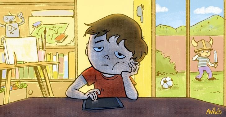 aburrimiento, niños, hijos, entretención, actividades, creatividad, celular, tablet, TV, pantalla