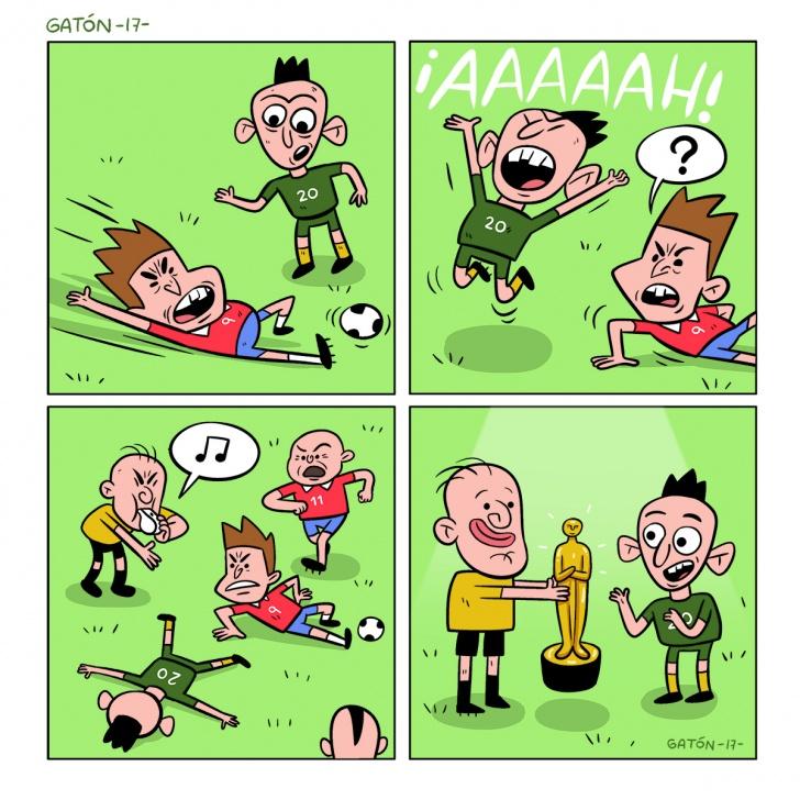fútbol, arbitro, futebol, soccer, falta, foul, teatro, premio, premio oscar, simulación en el futbol