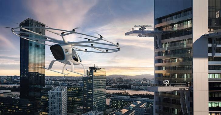 Transporte, auto volador, dron, Dubai