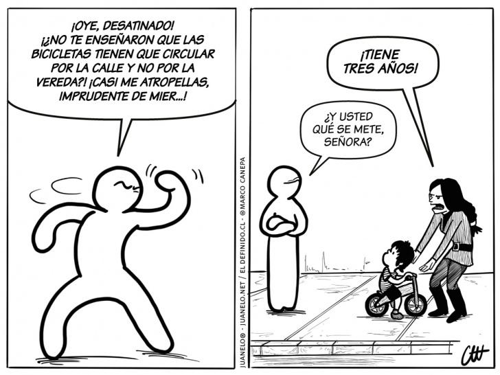 peatones, ciclistas, ciudad, convivencia, imprudencia, intolerancia, niños, padres, hijos, bicicletas