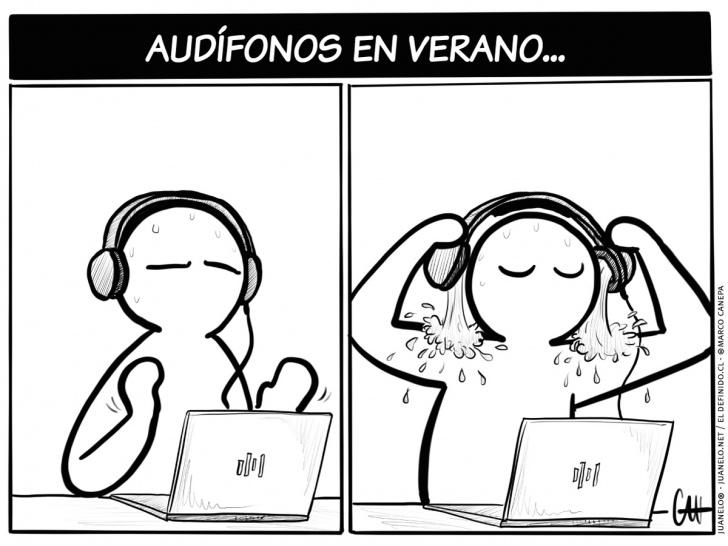 audífonos, auriculares, calor, sudor, transpiración