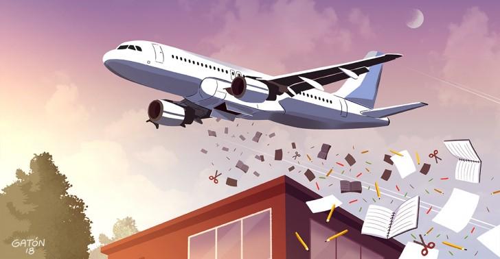 colegios, educación, chicago, donaciones, avión