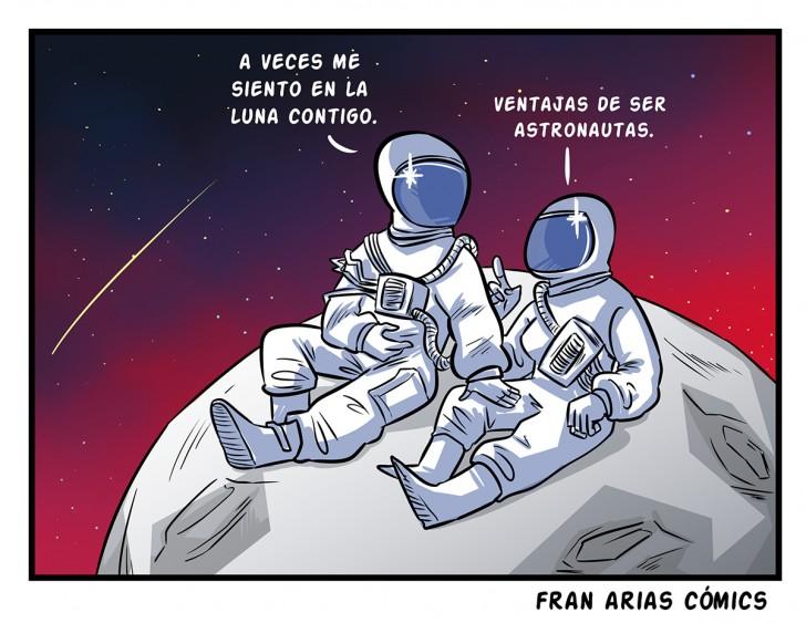 Astronauta, luna, amor, ironía, juego de palabras, pareja.