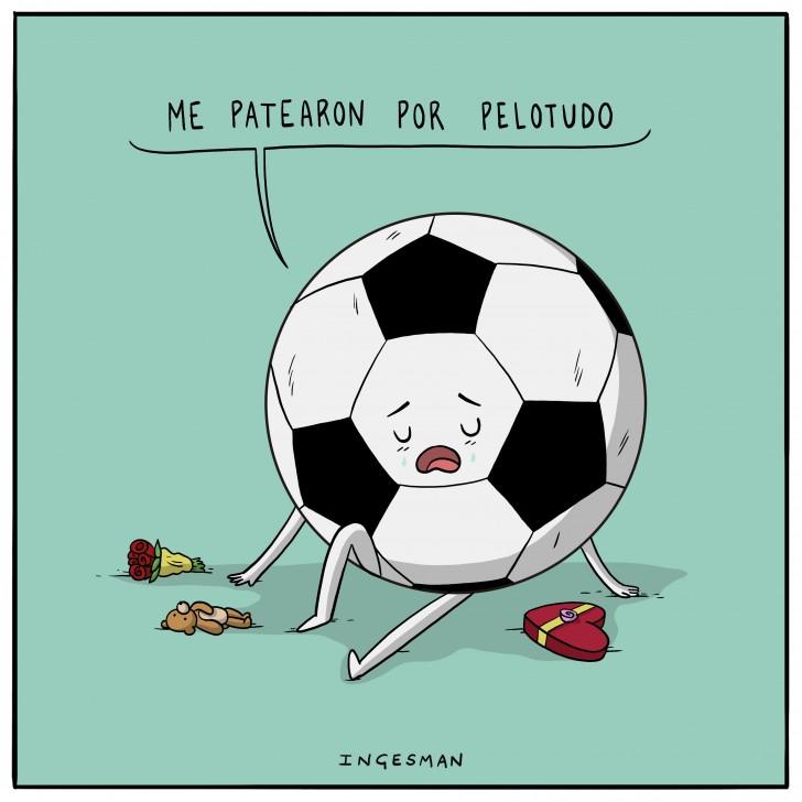 pelota, pelotudo, boludo, patearon, terminaron, amor, romantico, corazon, mamon, ingesman, futbol, chocolate, dulces, bombon, chiste, triste