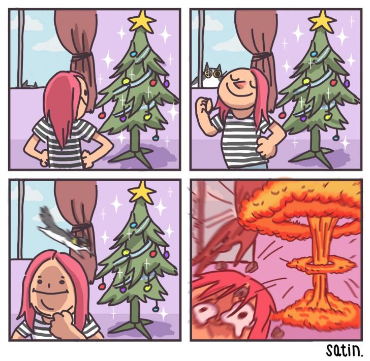 navidad, arbol, fiestas, gatos, mascotas