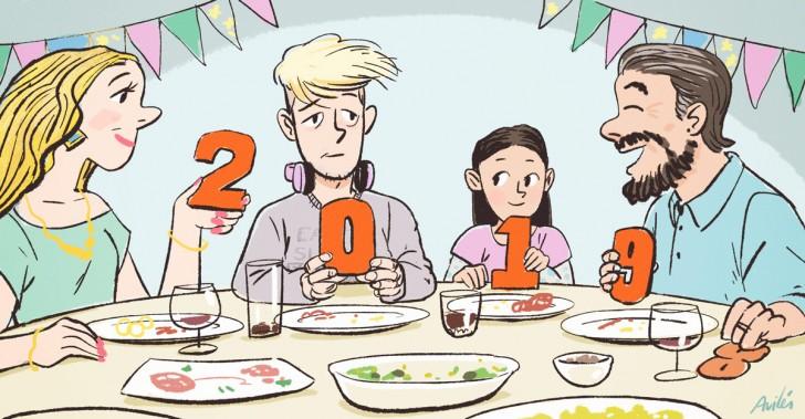 año nuevo, balance, consejos, familia, niños