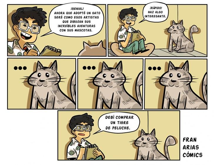 Artista, mascota, gato, tigre, peluche, cómics, 4ta pared.