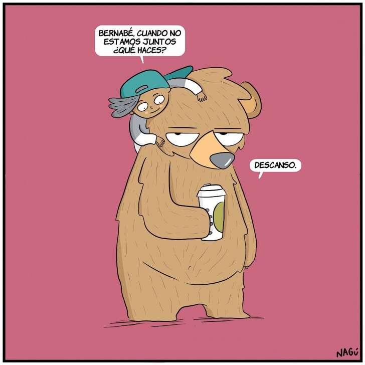descanso, amigos, oso, niños