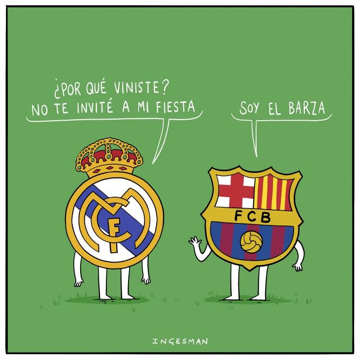 futbol, real madrid, barcelona, barza, pesado, fiesta, carrete, invitado, dibujo, ingesman, humor, chiste, españa, soccer, meme, comic, chile, equipo
