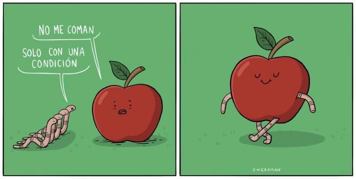 manzana, fruta, gusano, manzanas, ingesman ,humor, chile, equipo, trabajo, humor, chiste