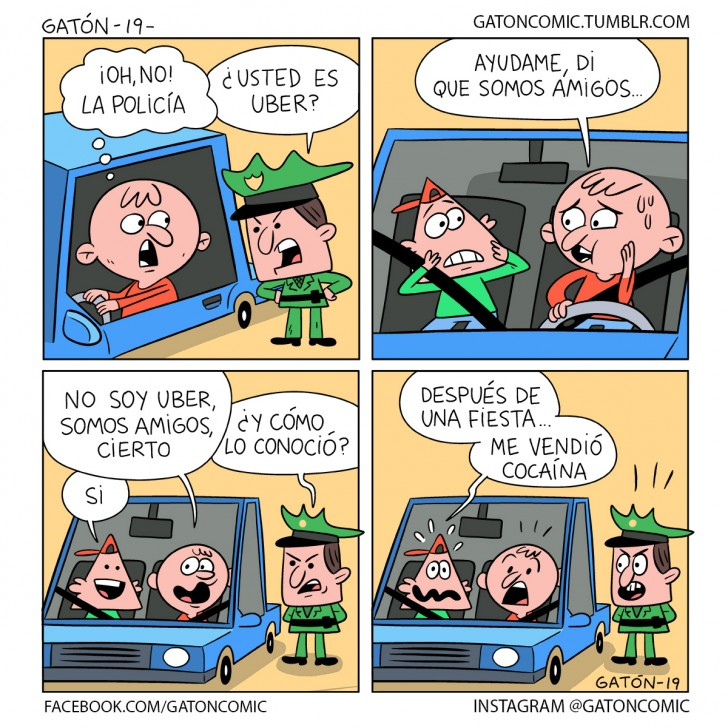 uber, taxi, policía, carabinero, amigo, amigos, police