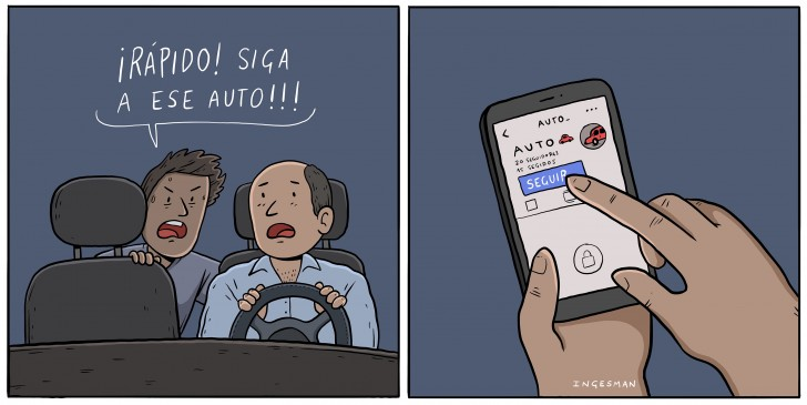 auto, taxi, uber, dibujo, seguir, instagram, facebook, ingesman, humor , chiste,